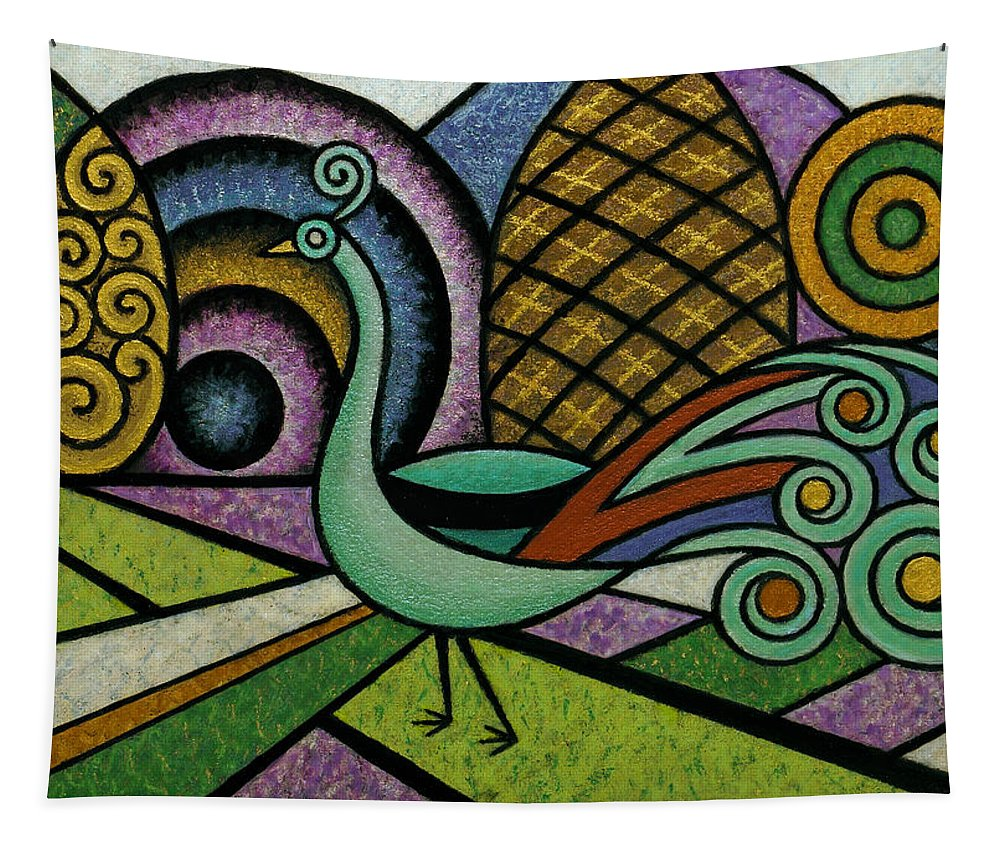 Peacock Tapestry featuring the mixed media Tiny Peacock by Bruce Bodden