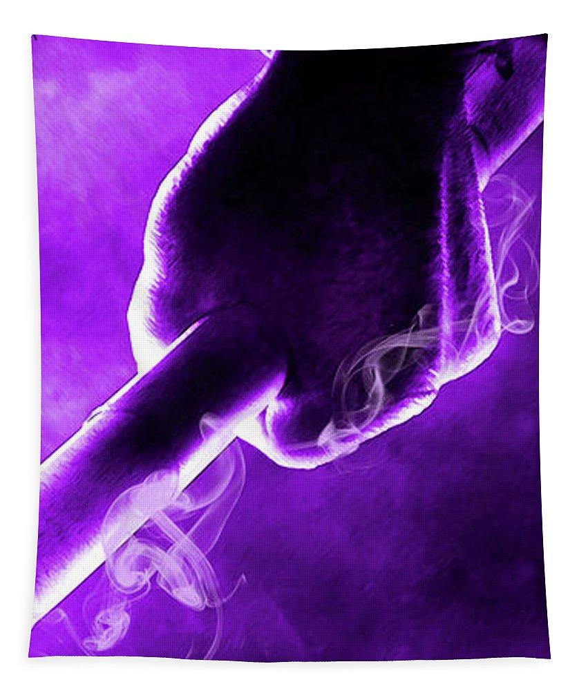 Teenage Mutant Ninja Turtles Tapestry featuring the digital art Tmnt 2  - Donatello Smoky Purple. by Prar Kulasekara