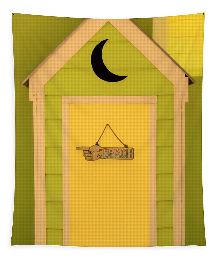Outhouse Tapestry featuring the photograph To The Beach - Decorative Outhouse And Sign by Mitch Spence