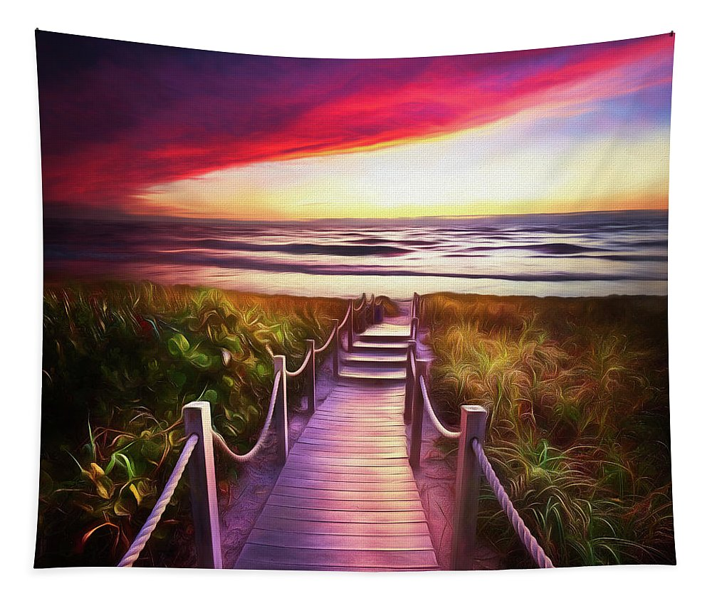 Clouds Tapestry featuring the photograph To The Beach Early Morning Watercolor Painting by Debra and Dave Vanderlaan