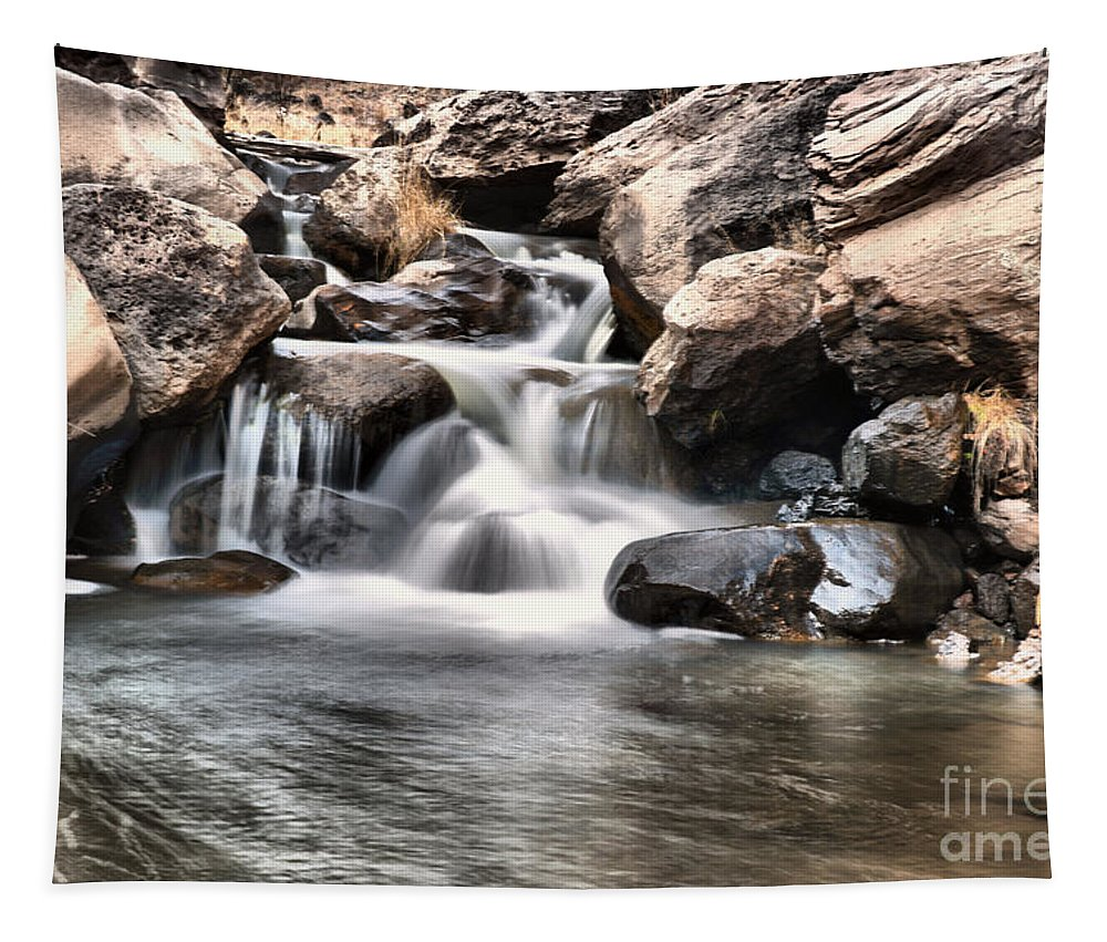 Water. Rocks. Stones Boulders Tapestry featuring the photograph To Watch Calm Water by Jeff Swan