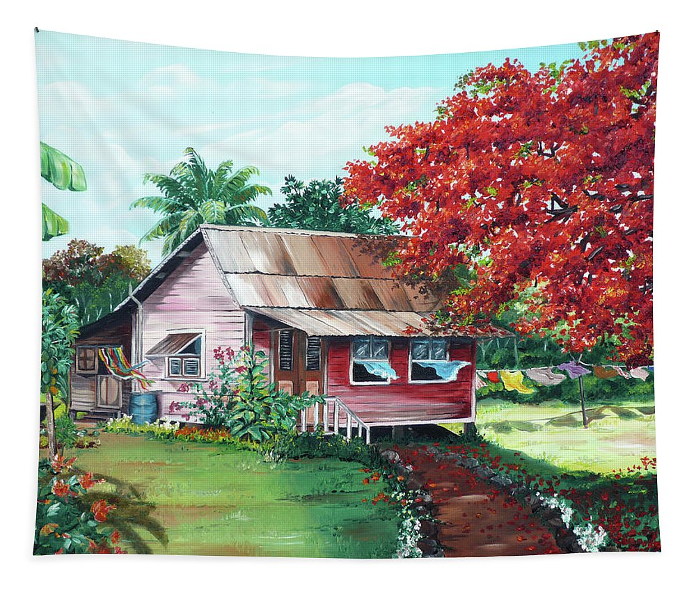 House Painting Tapestry featuring the painting Tobago Country House by Karin Dawn Kelshall- Best