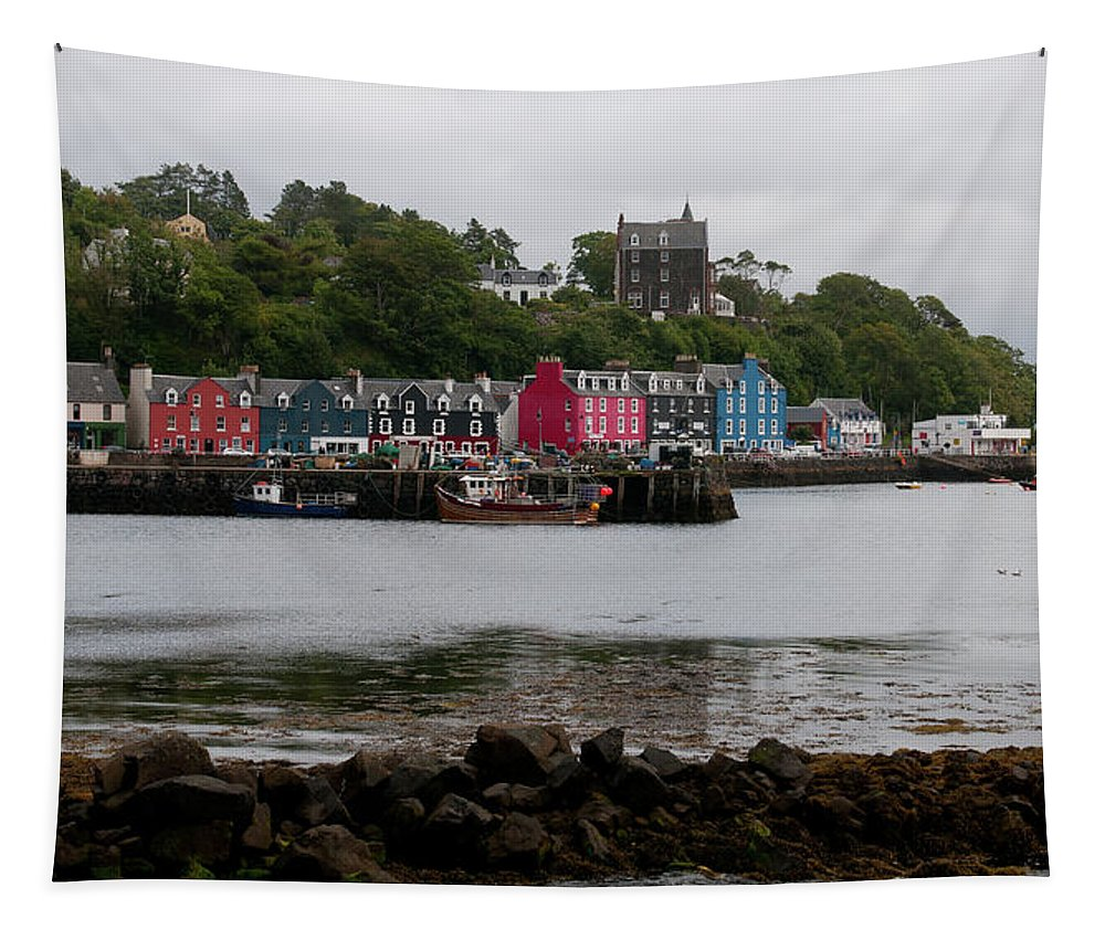 Tobermory Tapestry featuring the photograph Tobermory Town Cityscape, Isle Of Mull by Michalakis Ppalis