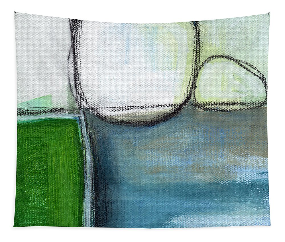 Abstract Tapestry featuring the painting Together by Linda Woods