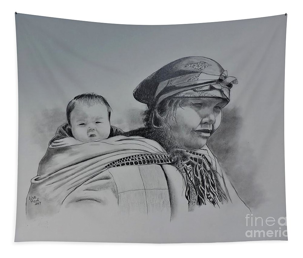 Togetherness Tapestry featuring the drawing Togetherness by Lise PICHE