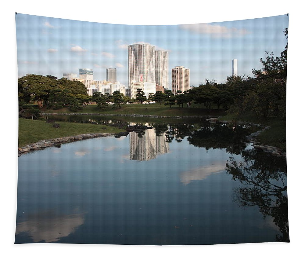 Tokyo Tapestry featuring the photograph Tokyo Highrises With Garden Pond by Carol Groenen