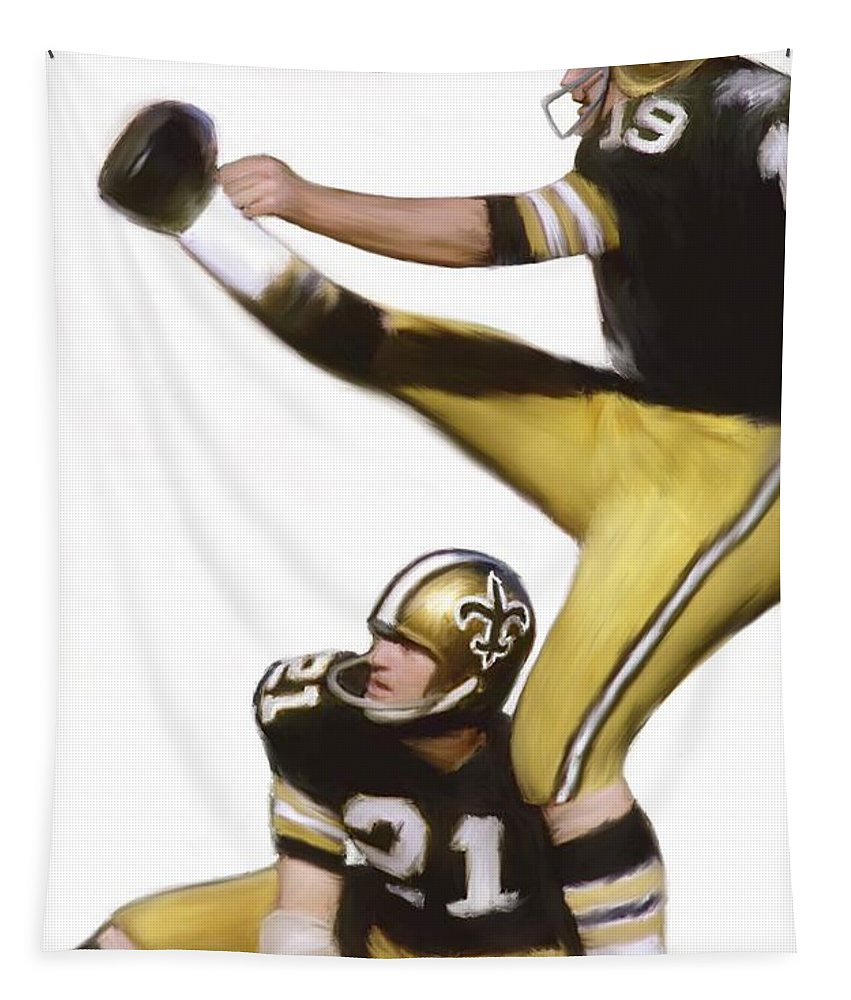 Saints Tapestry featuring the painting Tom Dempsey by Jack Bunds