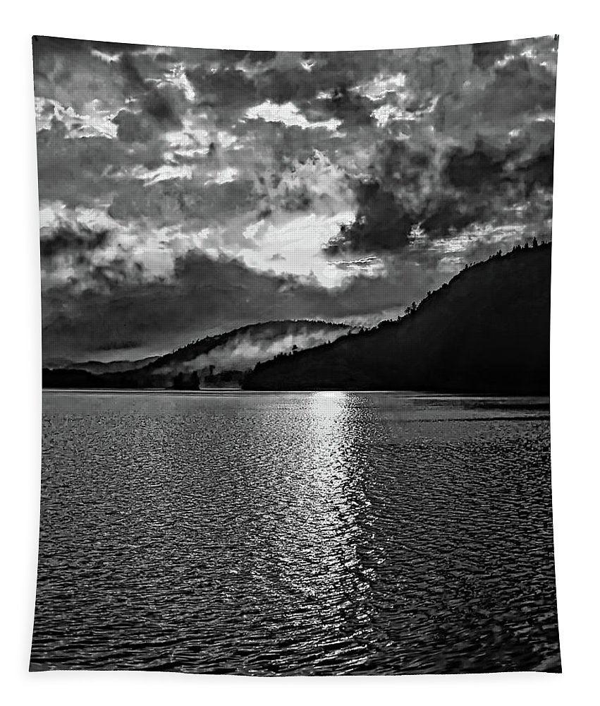 Landscape Tapestry featuring the photograph Tomorrow's Adventure Bw by Steve Harrington