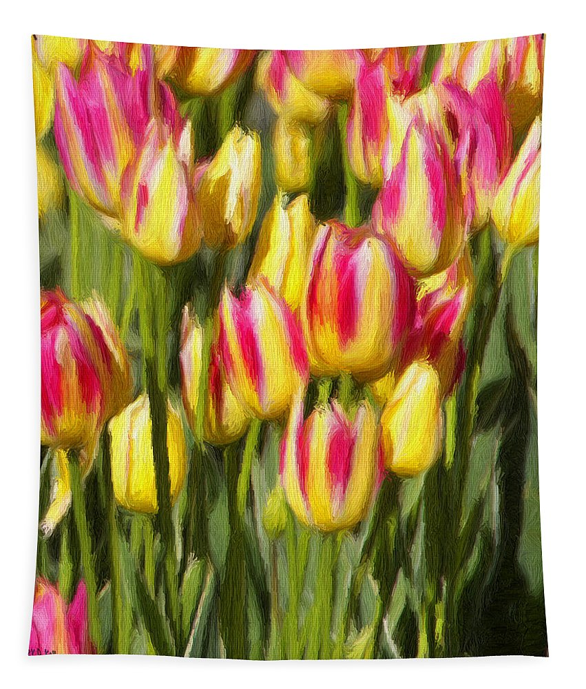 Tulips Tapestry featuring the painting Too Many Tulips by Jeffrey Kolker