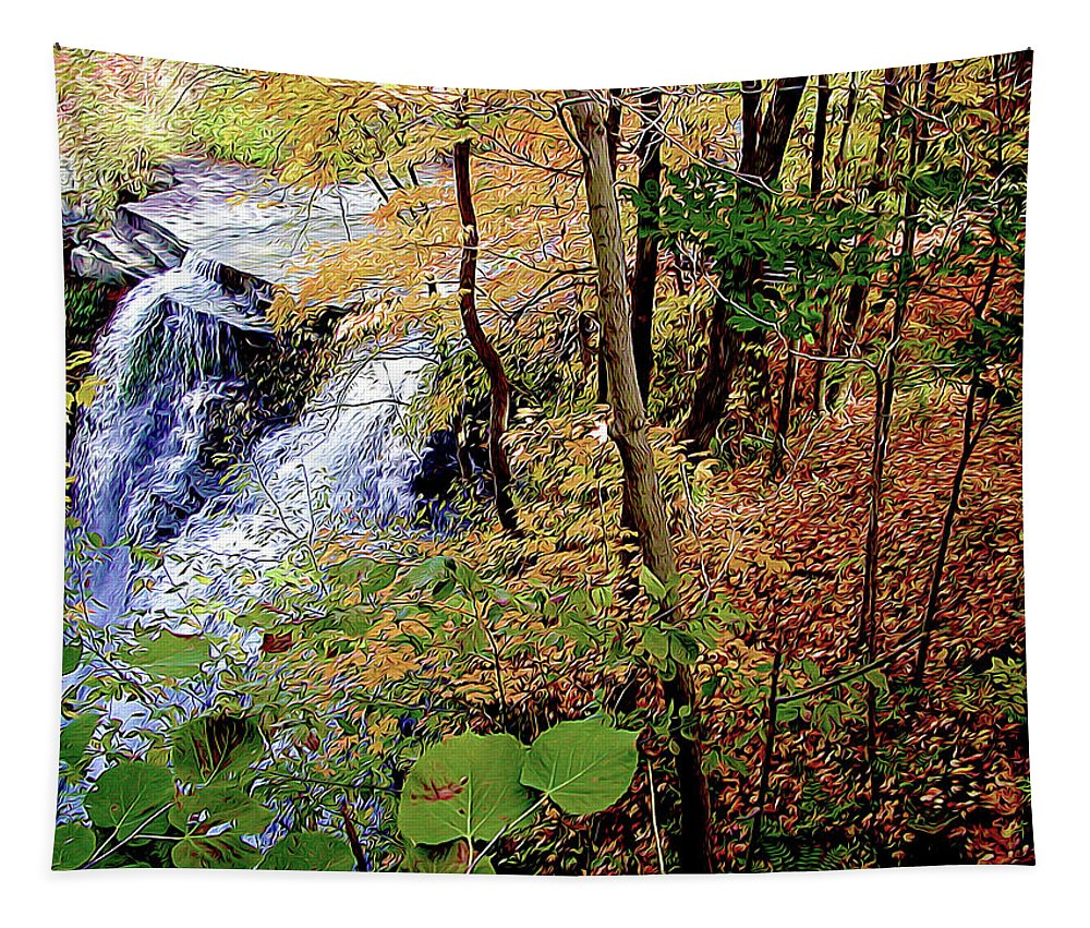 Nature Tapestry featuring the photograph Top Of The Falls by Linda Carruth