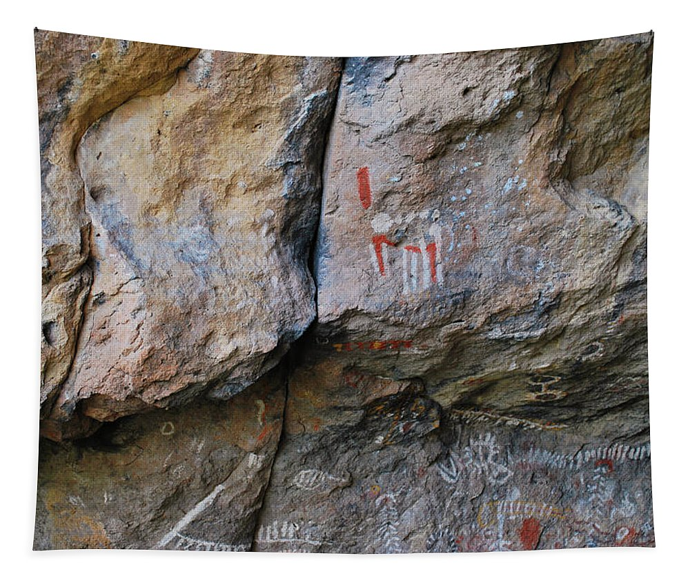 Scott Mcdaniel Tapestry featuring the photograph Toquima Cave Pictographs by Scott McDaniel