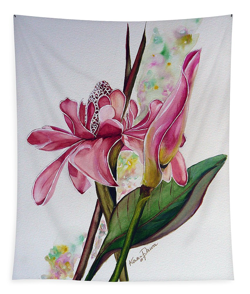 Flower Painting Floral Painting Botanical Painting Flowering Ginger. Tapestry featuring the painting Torch Ginger Lily by Karin Dawn Kelshall- Best