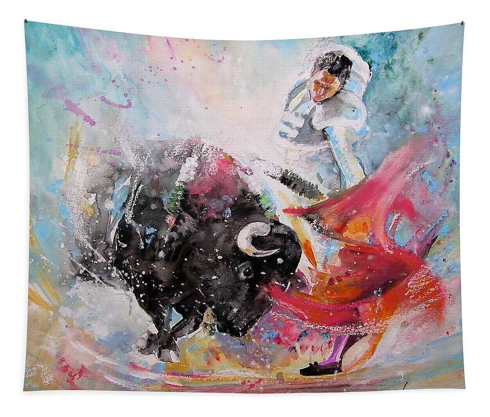 Animals Tapestry featuring the painting Toro Tempest by Miki De Goodaboom