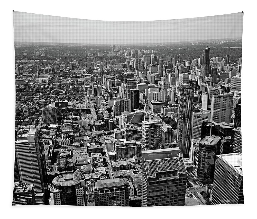 Architecture Tapestry featuring the photograph Toronto Ontario Scrapers In Black And White by Debbie Oppermann