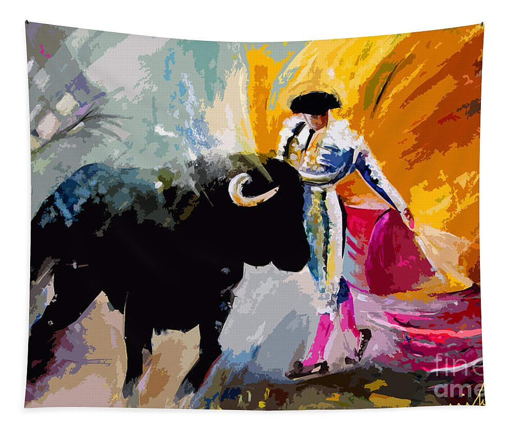 Toros Tapestry featuring the mixed media Toroscape 03 by Miki De Goodaboom