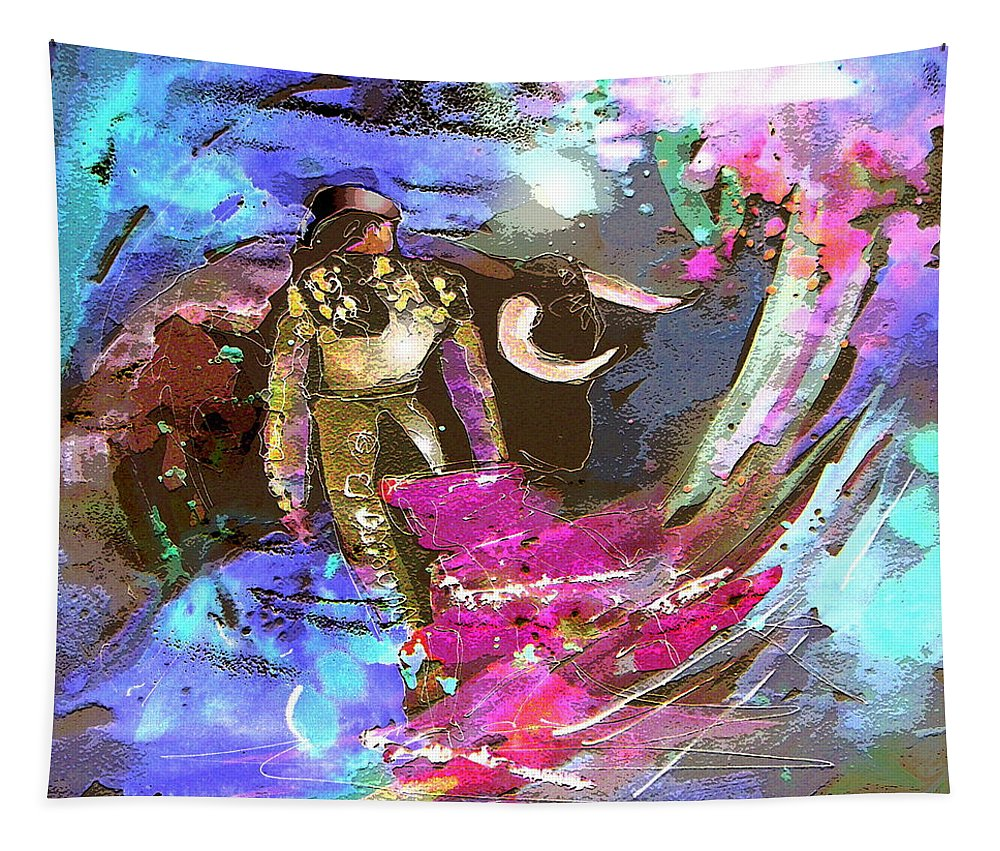 Animals Tapestry featuring the painting Toroscape 07 by Miki De Goodaboom