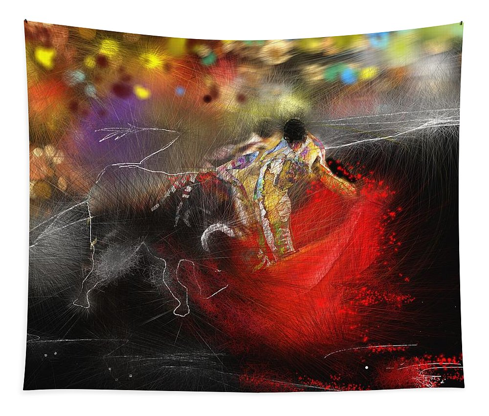 Animals Tapestry featuring the painting Toroscape 18 by Miki De Goodaboom