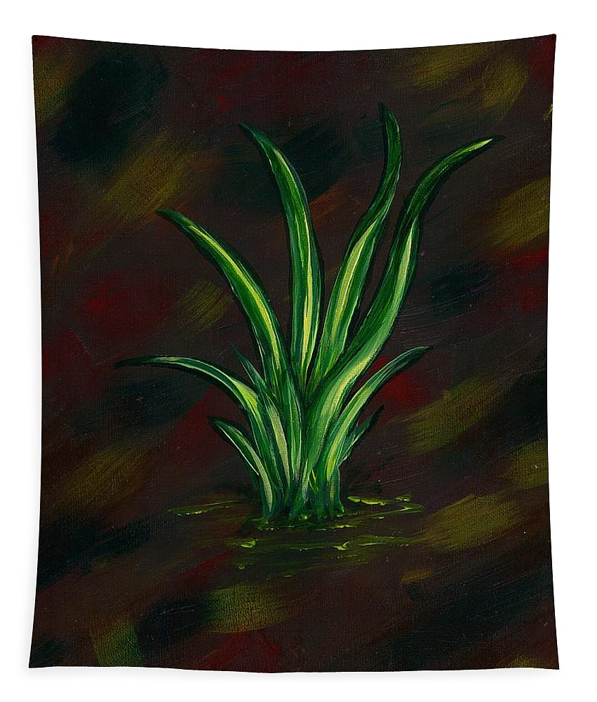 Abstract Grass Nature Green Brown Yellow Red Simplistic Tapestry featuring the painting Touch Of Nature by Renee Ober