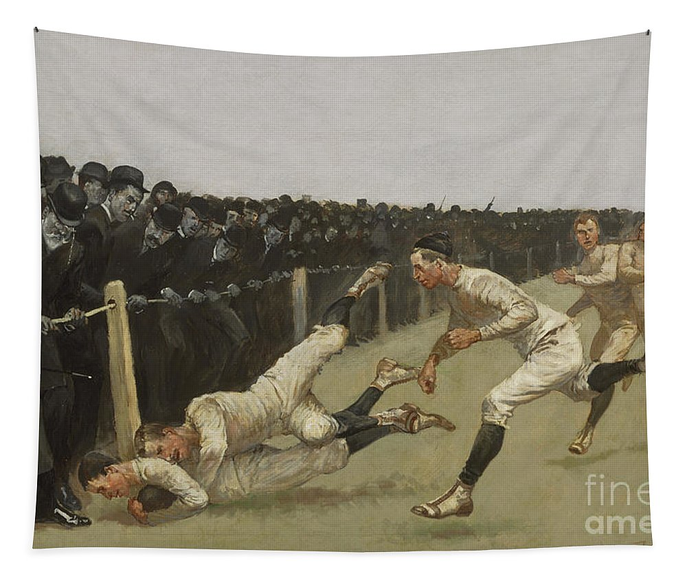Remington Tapestry featuring the painting Touchdown, Yale Vs. Princeton, Thanksgiving Day, Nov 27th 1890 by Frederic Remington