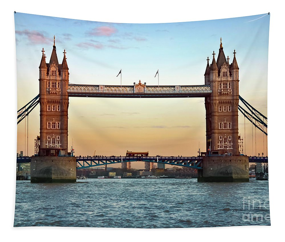 Tower Bridge Tapestry featuring the photograph Tower Bridge- Sunset In London by Terri Waters