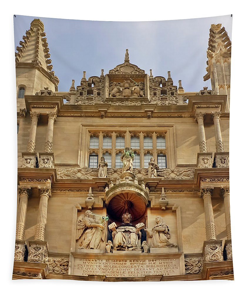 Bodleian Library Tapestry featuring the photograph Tower Of The Five Orders Bodleian Library Oxford by Terri Waters