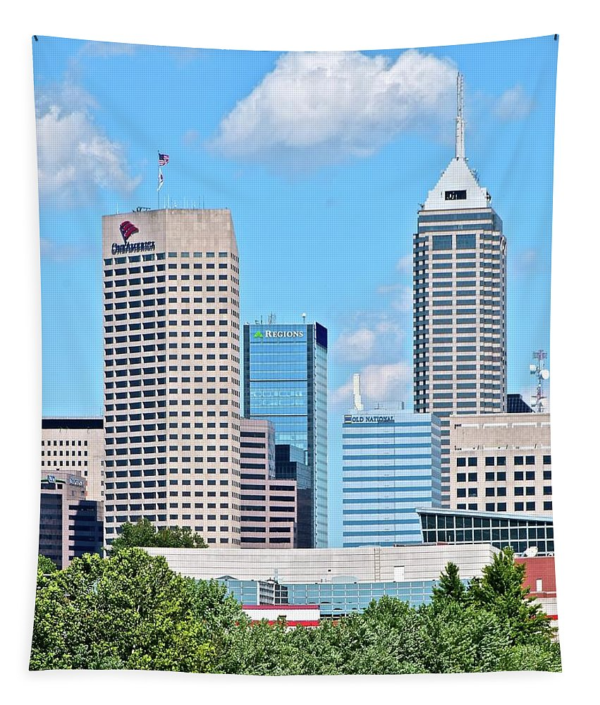 Indianapolis Tapestry featuring the photograph Towering Over Indy by Frozen in Time Fine Art Photography