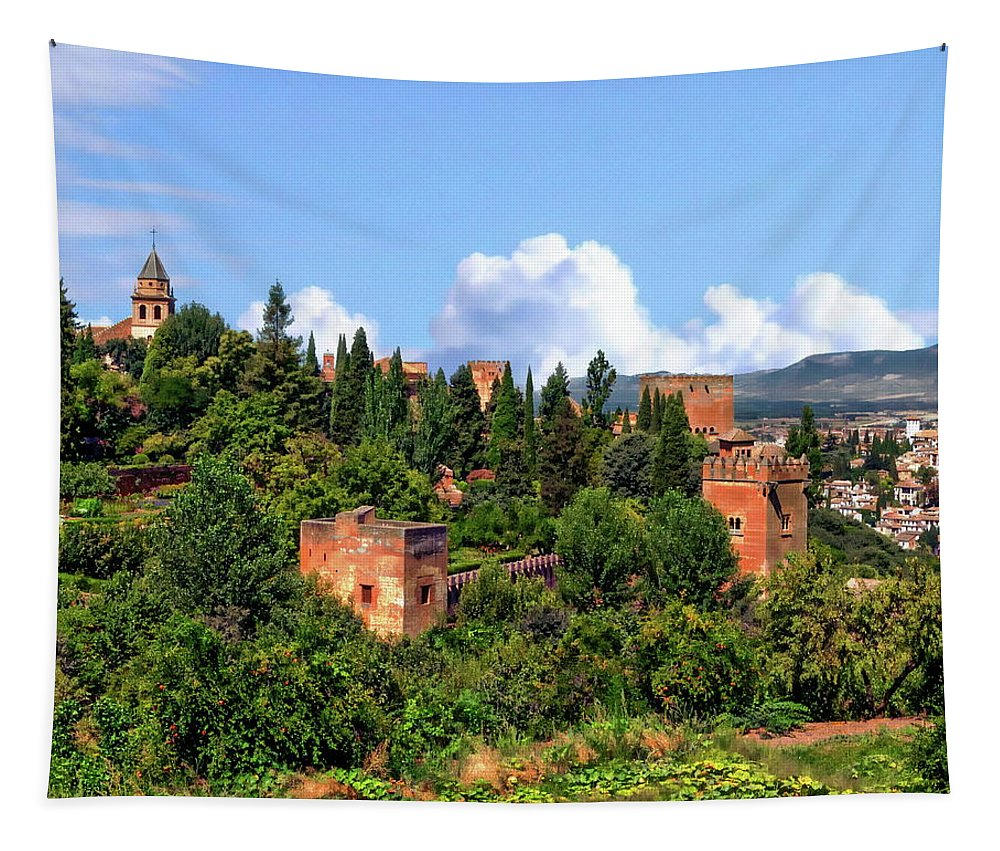 Panorama Tapestry featuring the photograph Towers Of The Alhambra by Anthony Dezenzio