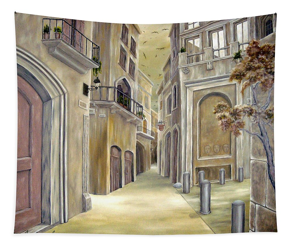Medieval Tapestry featuring the painting Town Alley by Faye Anastasopoulou