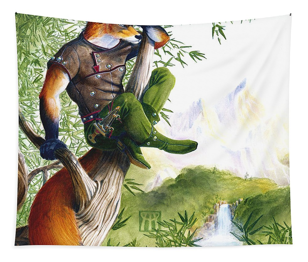 Fantasy Tapestry featuring the painting Trail Blazing Fox by Melissa A Benson