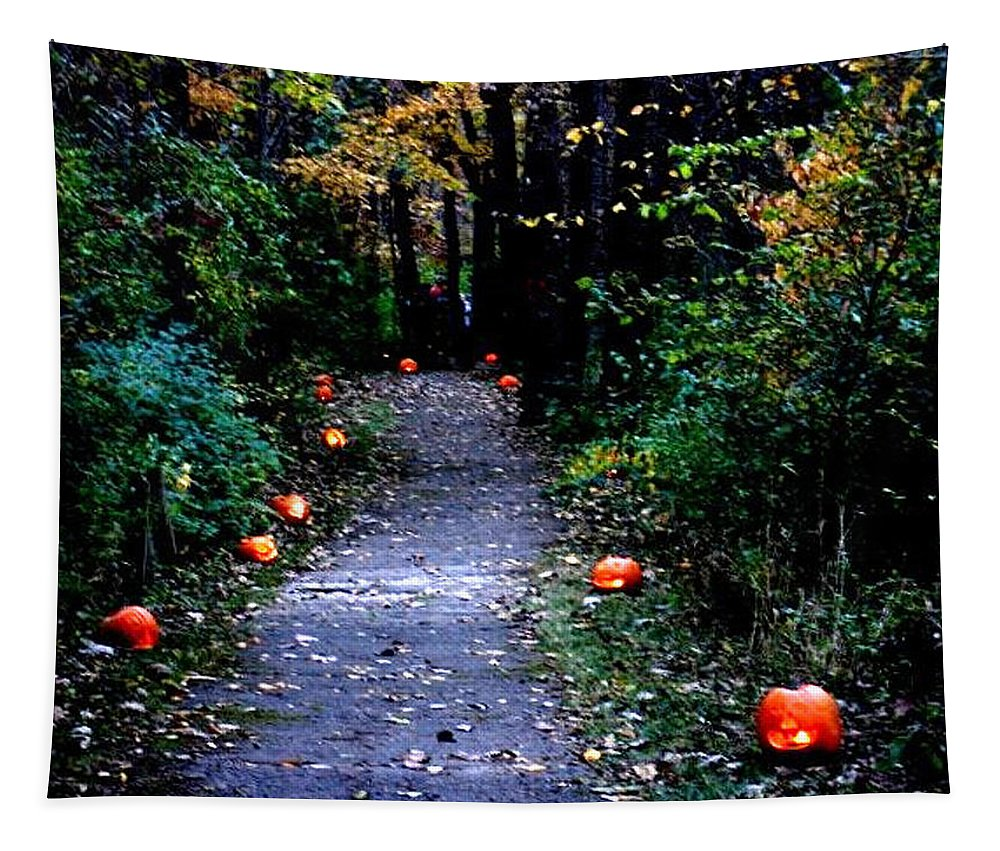 Landscape Tapestry featuring the photograph Trail Of 100 Jack-o-lanterns by Steve Karol