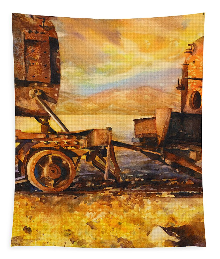 Art Prints Tapestry featuring the painting Train Cemetary- Salar De Uyuni, Bolivia by Ryan Fox