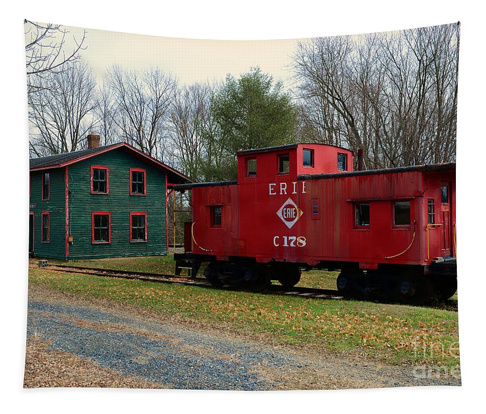 Paul Ward Tapestry featuring the photograph Train - Erie Rr Line Caboose by Paul Ward