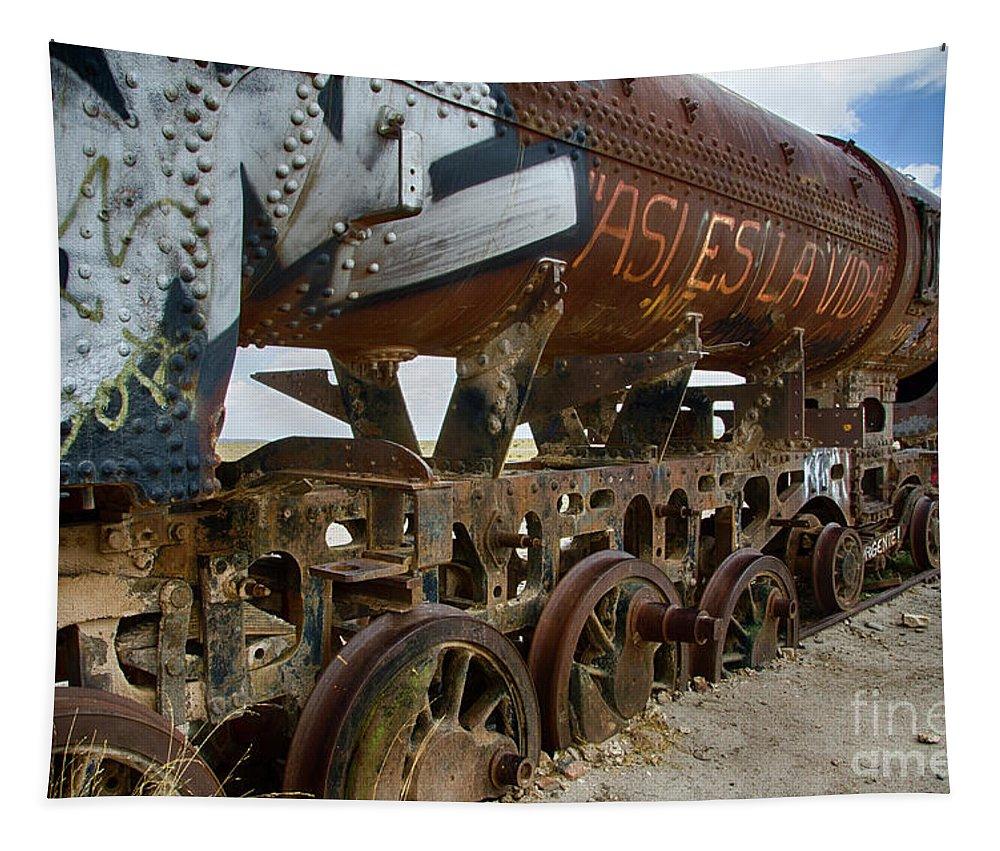 Uyuni Tapestry featuring the photograph Train Graveyard Uyuni Bolivia 14 by Bob Christopher