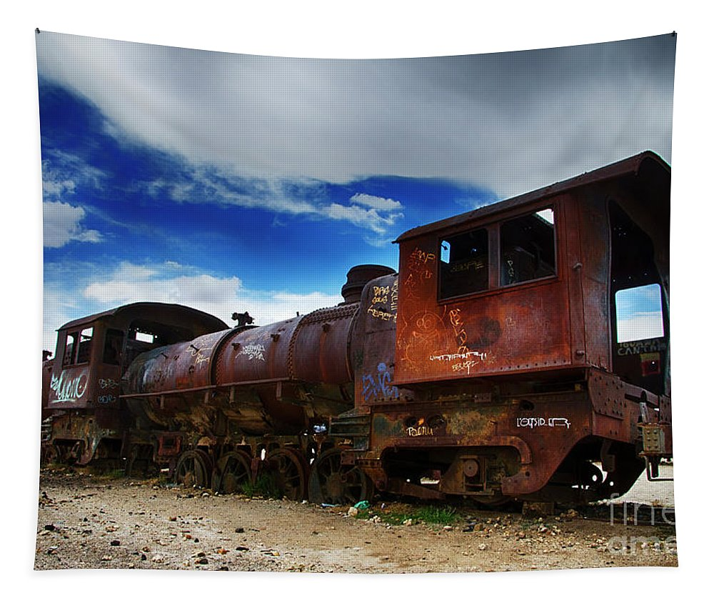 Uyuni Tapestry featuring the photograph Train Graveyard Uyuni Bolivia 15 by Bob Christopher