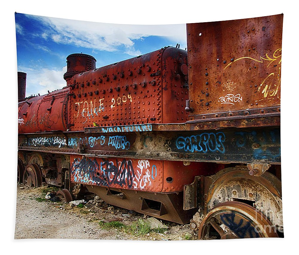 Uyuni Tapestry featuring the photograph Train Graveyard Uyuni Bolivia 18 by Bob Christopher
