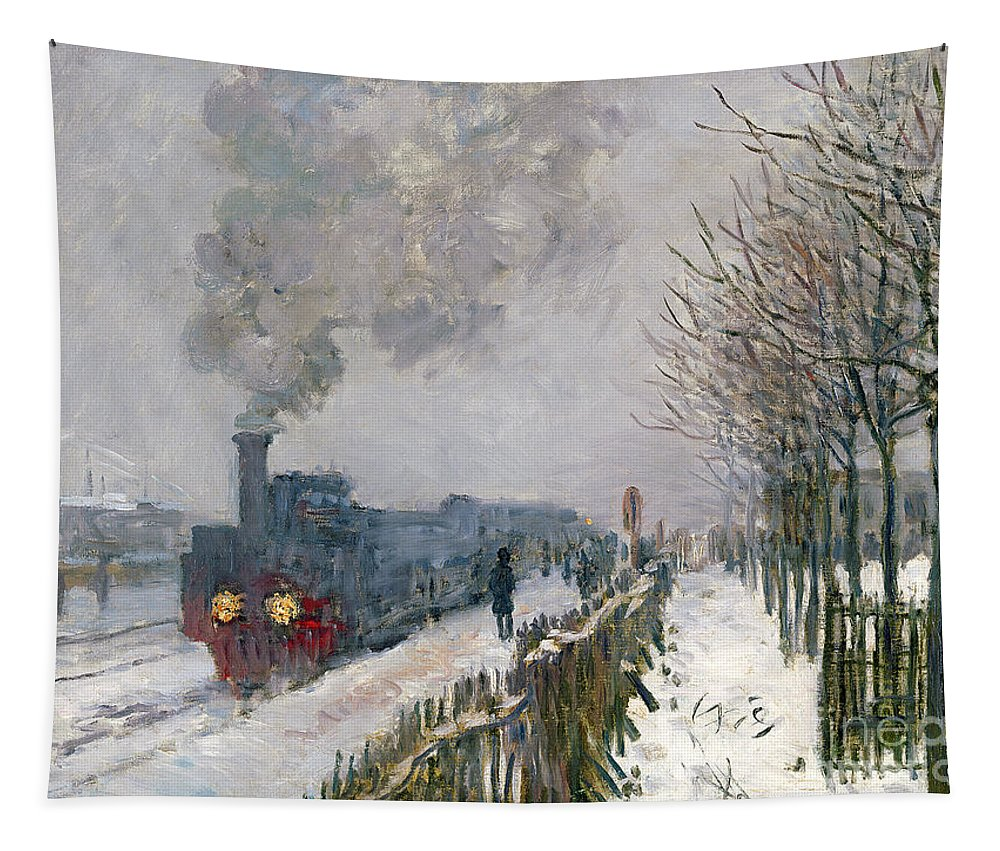 Train Tapestry featuring the painting Train In The Snow Or The Locomotive by Claude Monet