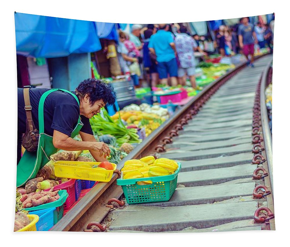 Asia Tapestry featuring the photograph Train Market 2323 by Jijo George