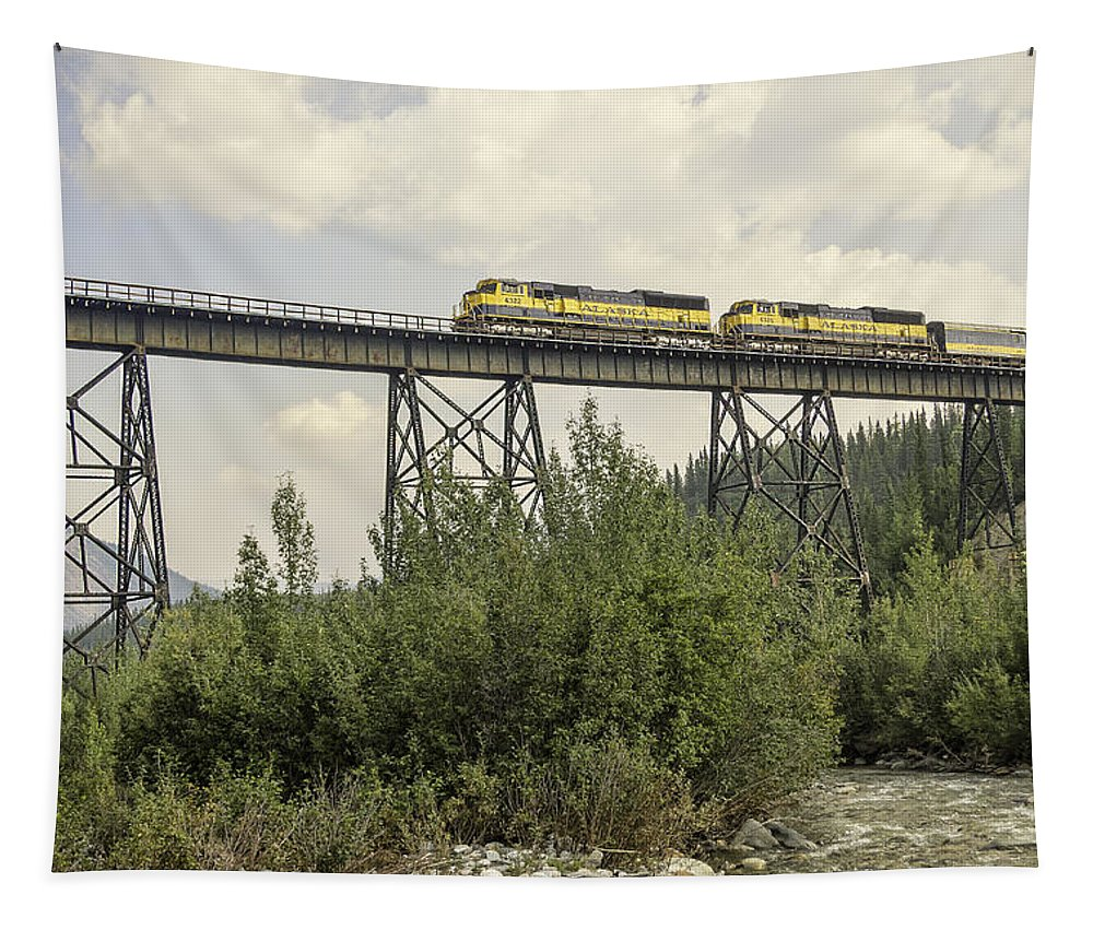 Train On Trestle Tapestry featuring the photograph Train On Trestle by Phyllis Taylor