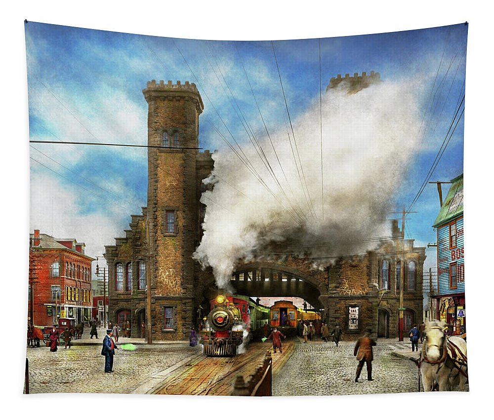 Self Tapestry featuring the photograph Train Station - Boston And Maine Railroad Depot 1910 by Mike Savad