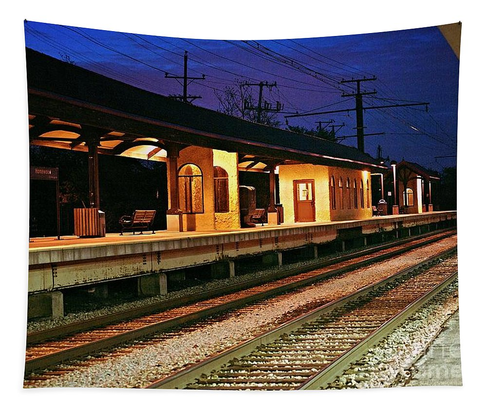 Metra Rail Tapestry featuring the photograph Train Station by Frank J Casella