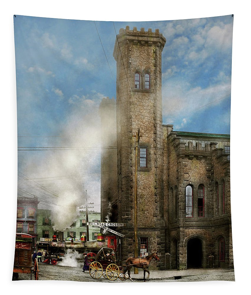 Salem Tapestry featuring the photograph Train Station - Look Out For The Train 1910 by Mike Savad
