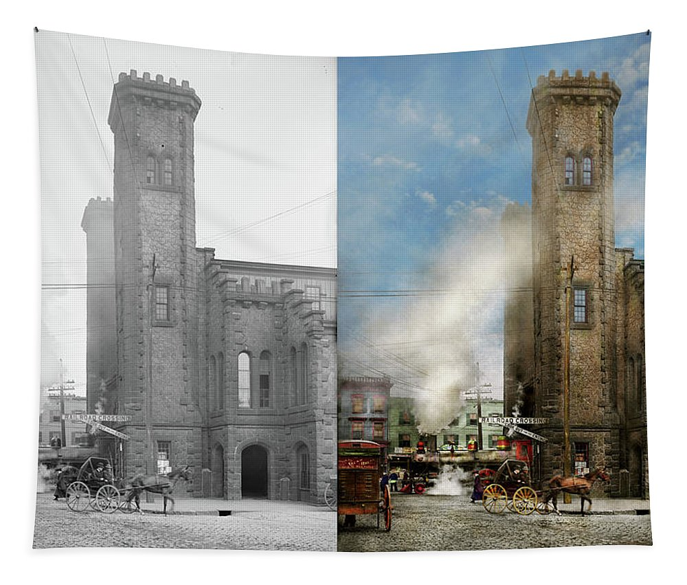 Salem Tapestry featuring the photograph Train Station - Look Out For The Train 1910 - Side By Side by Mike Savad
