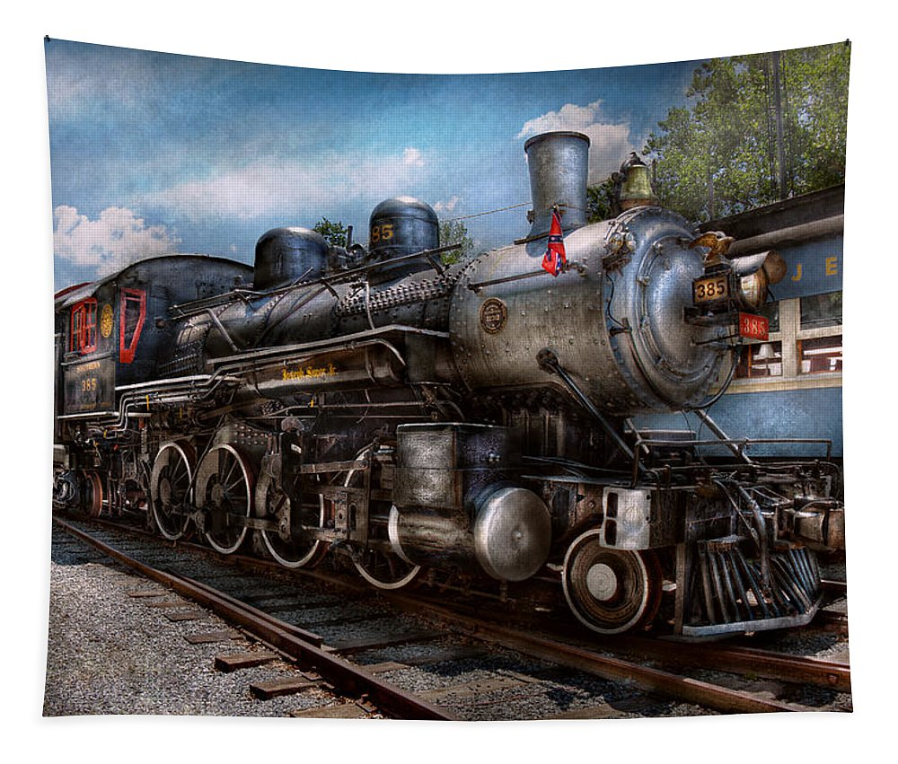 Train Tapestry featuring the photograph Train - Steam - 385 Fully Restored by Mike Savad