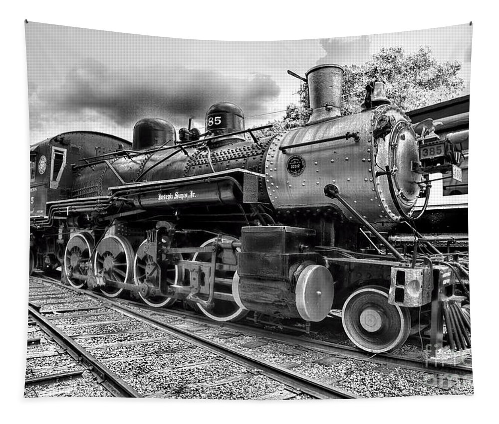 Paul Ward Tapestry featuring the photograph Train - Steam Engine Locomotive 385 in black and white by Paul Ward