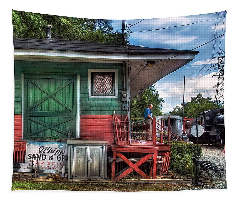 Savad Tapestry featuring the photograph Train - Yard - The Train Station by Mike Savad