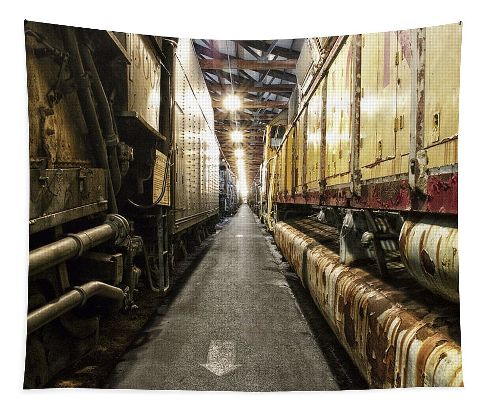 Trains Tapestry featuring the mixed media Trains Ancient Iron In The Barn by Thomas Woolworth