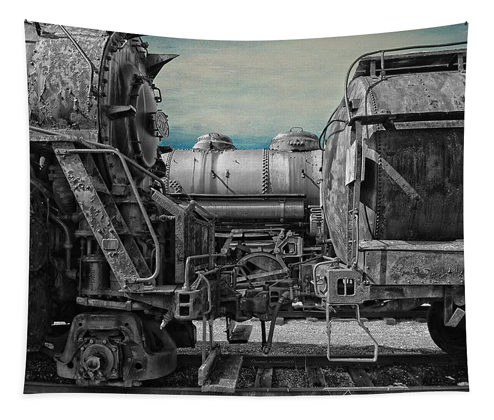 Passenger Tapestry featuring the mixed media Trains Ancient Iron Sc by Thomas Woolworth