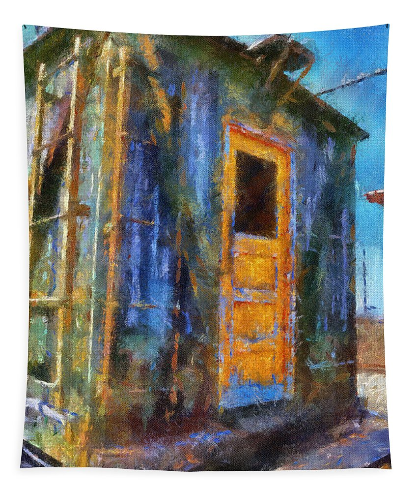 Photo Art Tapestry featuring the mixed media Trains Box Car Yellow Door Pa 02 by Thomas Woolworth