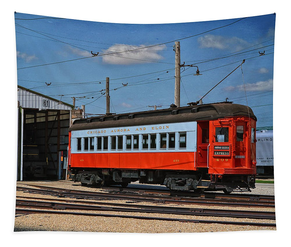 Passenger Tapestry featuring the mixed media Trains Chicago Aurora Elgin Trolley Car 409 by Thomas Woolworth