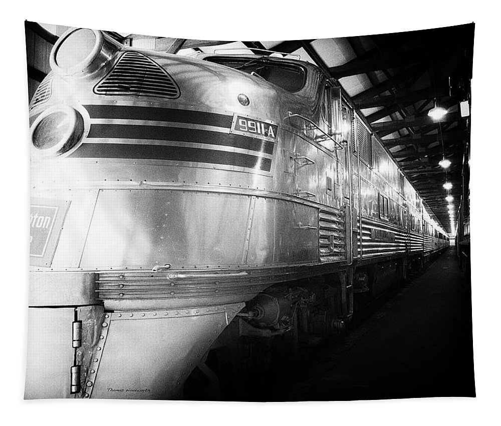 Trains Tapestry featuring the mixed media Trains Emd E5 Diesel Locomotive Bw by Thomas Woolworth